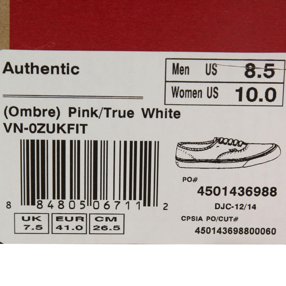 42de3825f0cfea Vans Men Authentic - Ombre (pink   white)