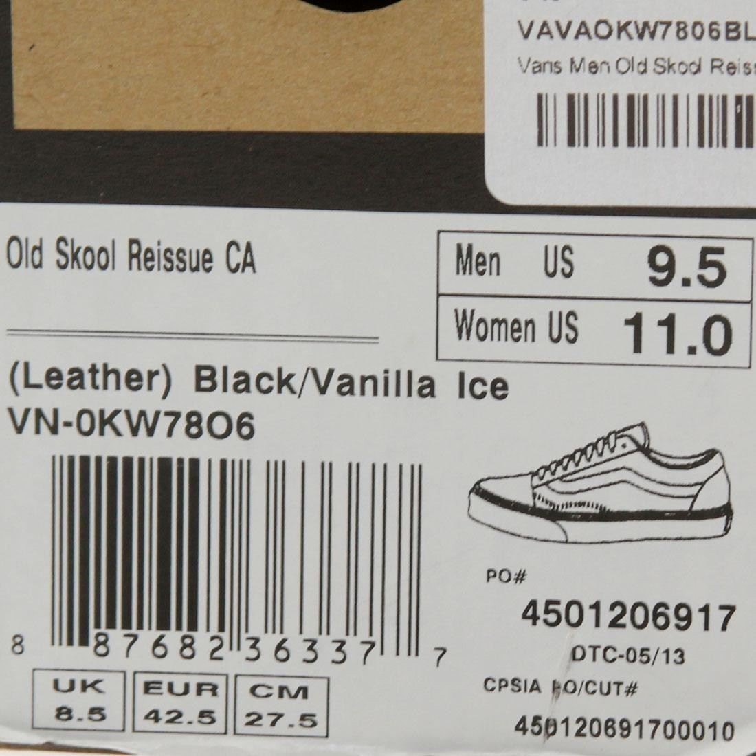 50dd8723d8 Vans Men Old Skool Reissue CA (Black Vanilla Ice)