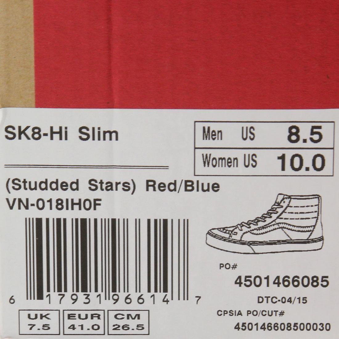 3e6057c5a3 Vans Men Sk8-Hi Slim - Studded Stars (red   blue)