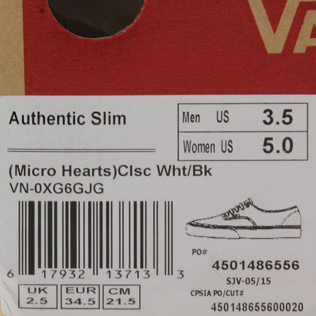 3b4d7a3c88f896 Vans Men Authentic Slim - Micro Hearts (white   black)