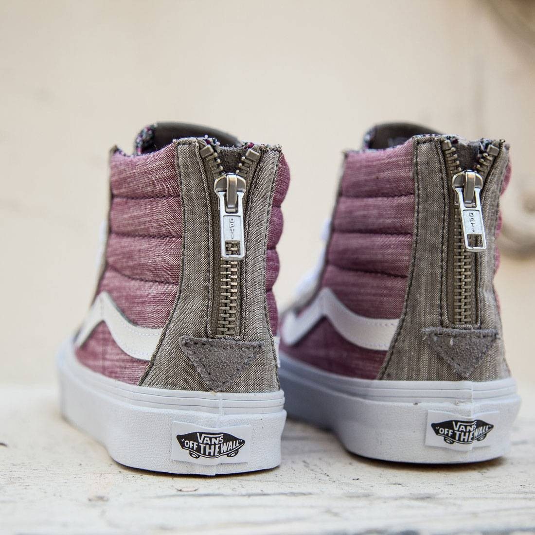 4dcc51b92c6372 Vans Women Sk8-Hi Slim Zip - Floral Chambray (gray   true white)