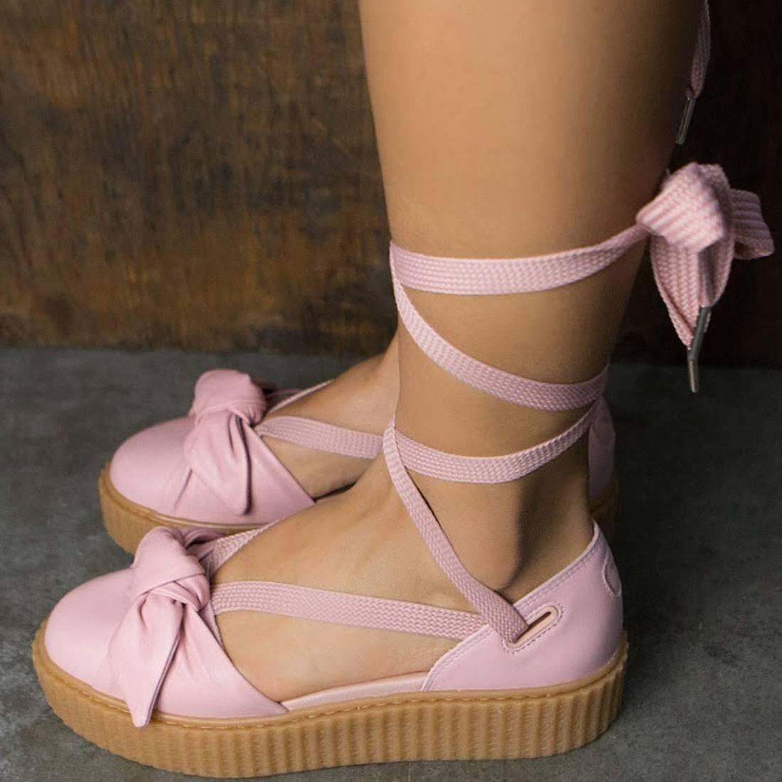 19d42d95d7f2 Puma x Fenty By Rihanna Women Bow Creeper Sandal (silver   pink   oatmeal)
