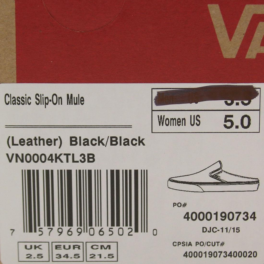 2f5058435cee07 Vans Women Classic Slip-On Mule - Leather (black   black)