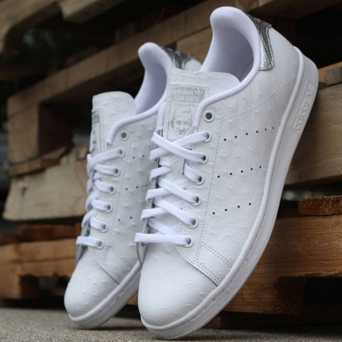 reputable site 94151 d3600 Adidas Men Stan Smith - Premium Ostrich Leather (white / silver)