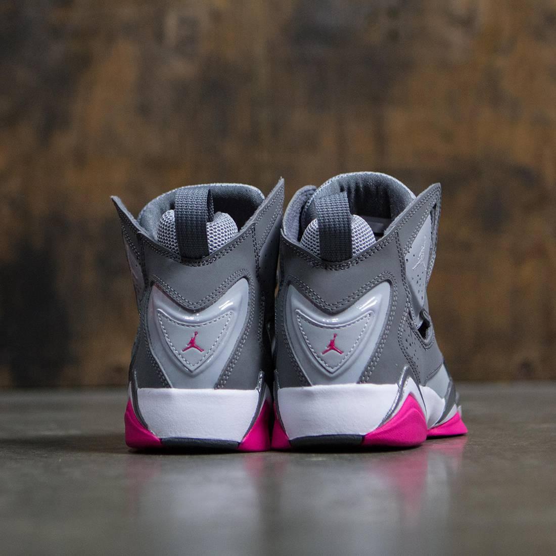 purchase cheap 21881 896ae Jordan Big Kids Girls' True Flight (GS) (cool grey / white-wolf grey-vivid  pink)