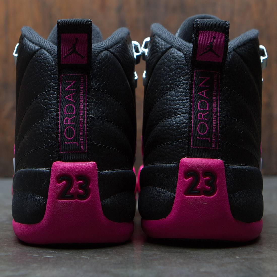 aab967238d15 Air Jordan 12 Retro (GS) Big Kids Girls  (black   deadly pink-metallic  silver)