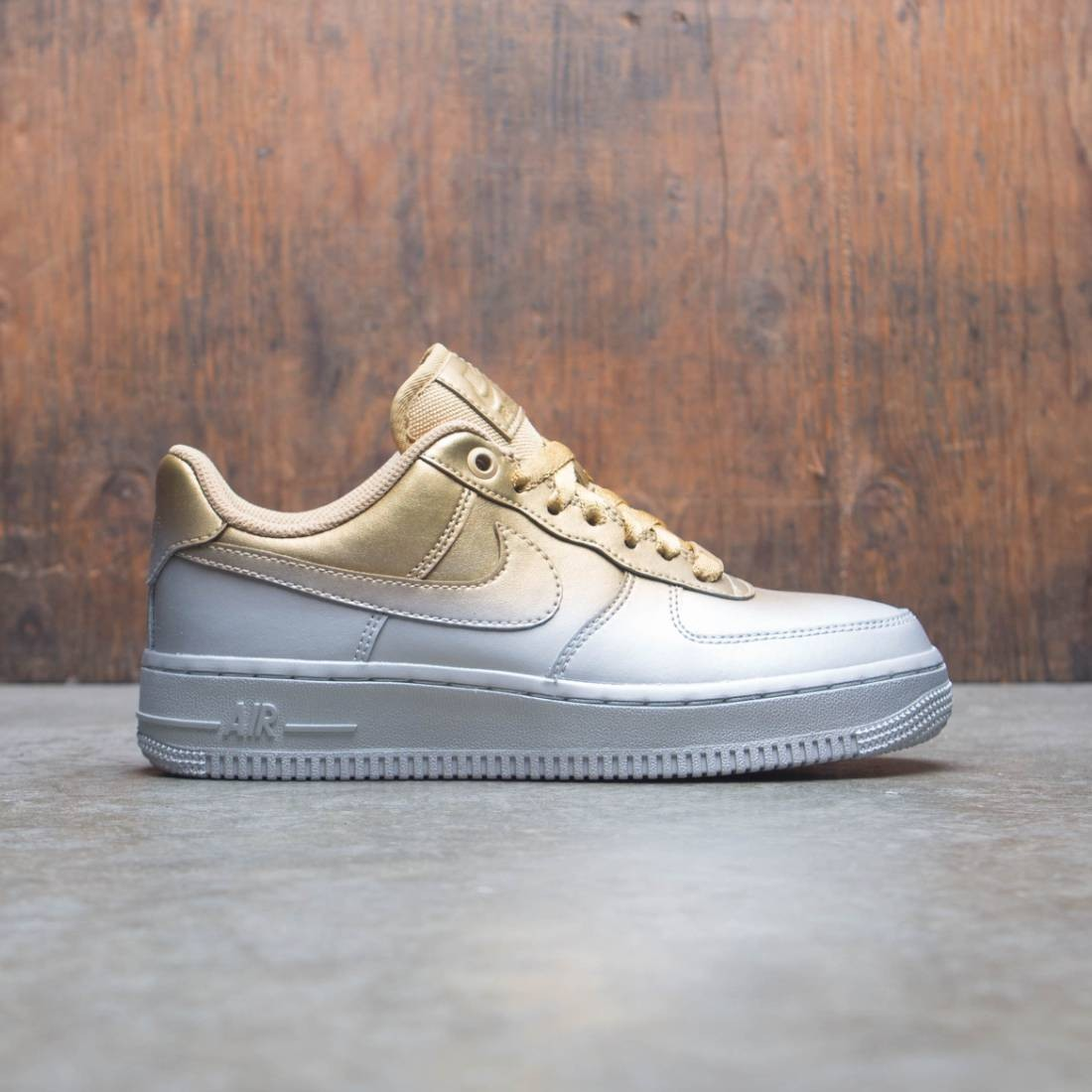 separation shoes 55f68 ac99a Nike Women Air Force 1 '07 Lux (mtlc platinum / metallic gold-flt gold)
