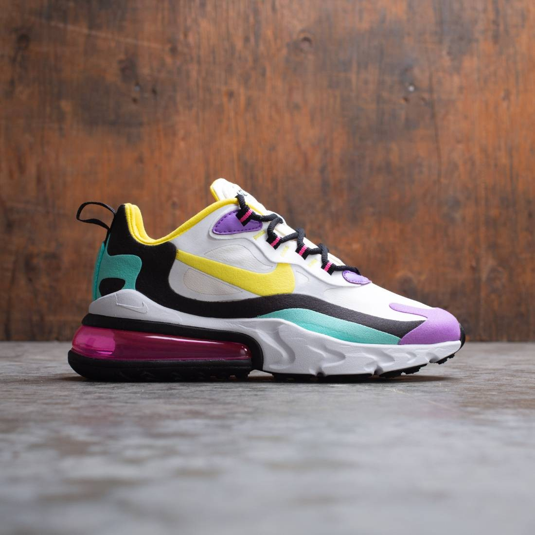 nike women's air max 270 react shoes grey/red/yellow