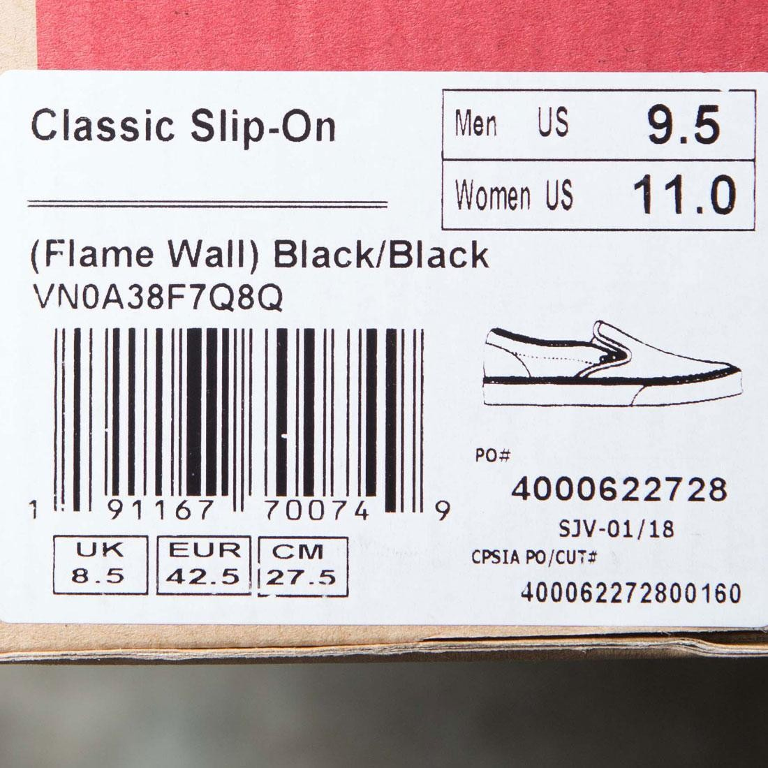 a271c43286f Vans Men Classic Slip-On - Black Flame Wall (black   flames)