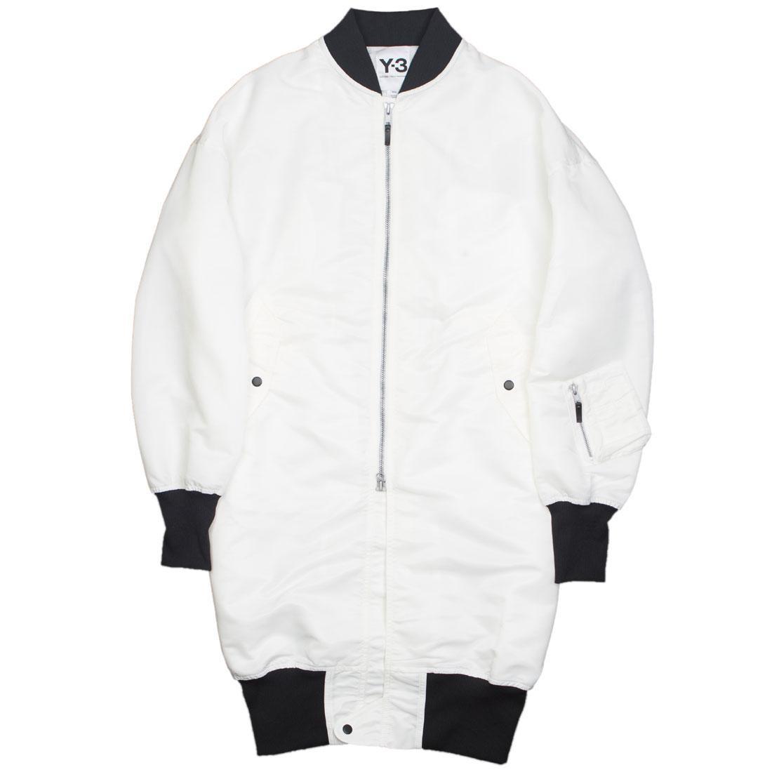9ad9016d8a60 Adidas Y-3 Men Emblem Bomber Long Jacket white chalk white