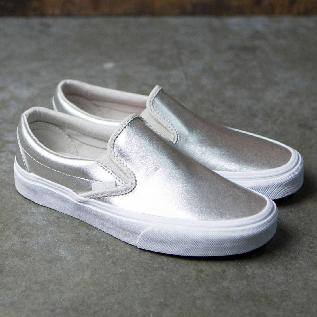 Vans Women Classic Slip-On - Metallic Leather (silver   true white) eb46a62e5
