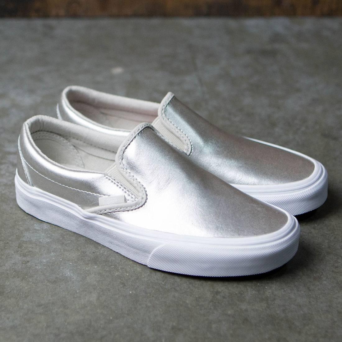 Vans Women Classic Slip-On - Metallic Leather (silver   true white) eb46a62e5