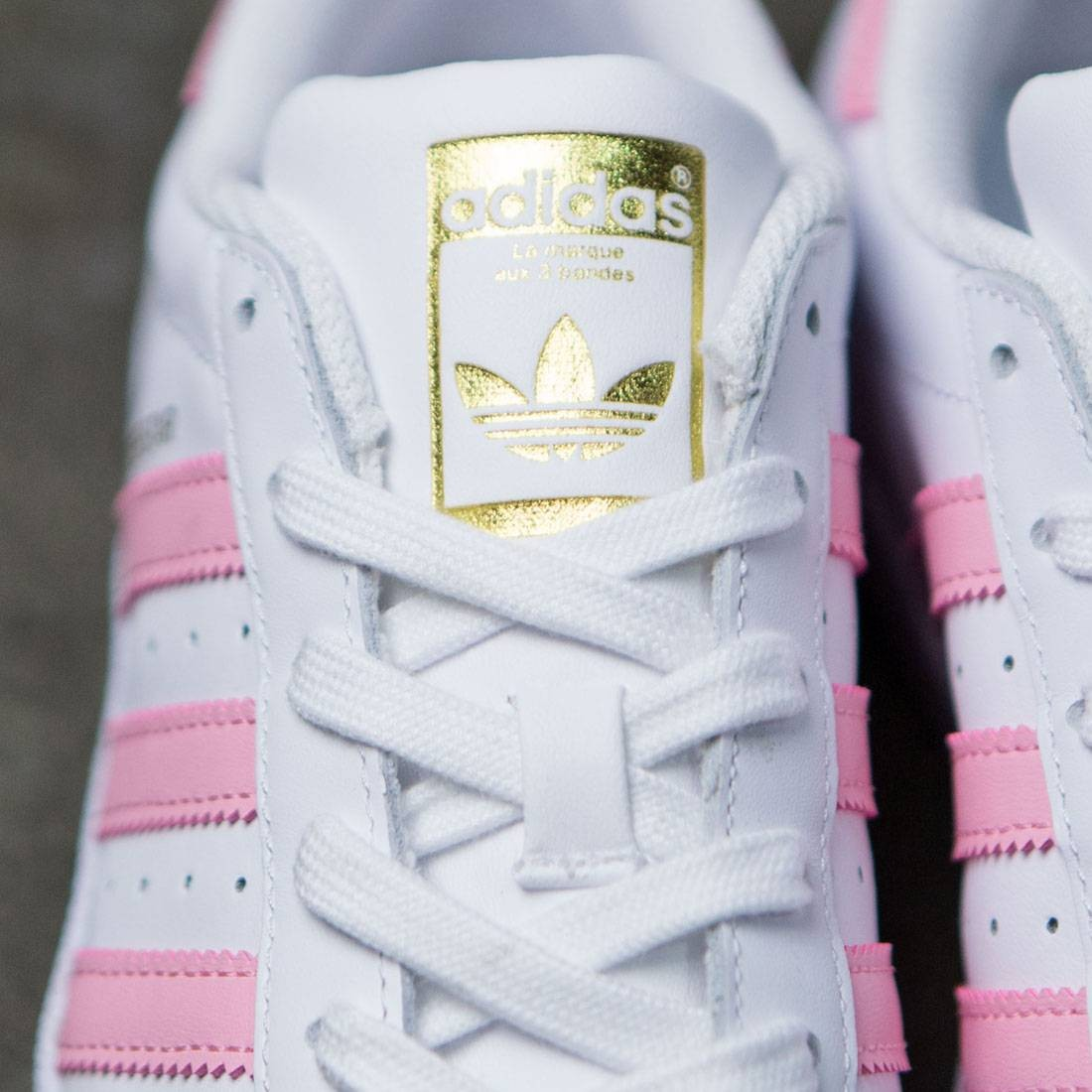 3dfd308f5747 Adidas Big Kids Superstar Foundation (white   clear light pink   gold  metallic)