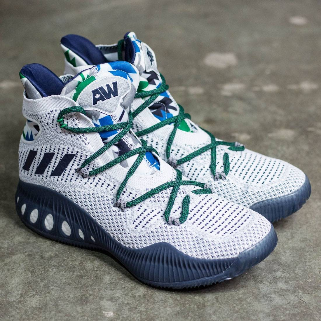 finest selection 92674 48fc6 Adidas Men Crazy Explosive Primeknit (white   collegiate navy   multi solid  grey)