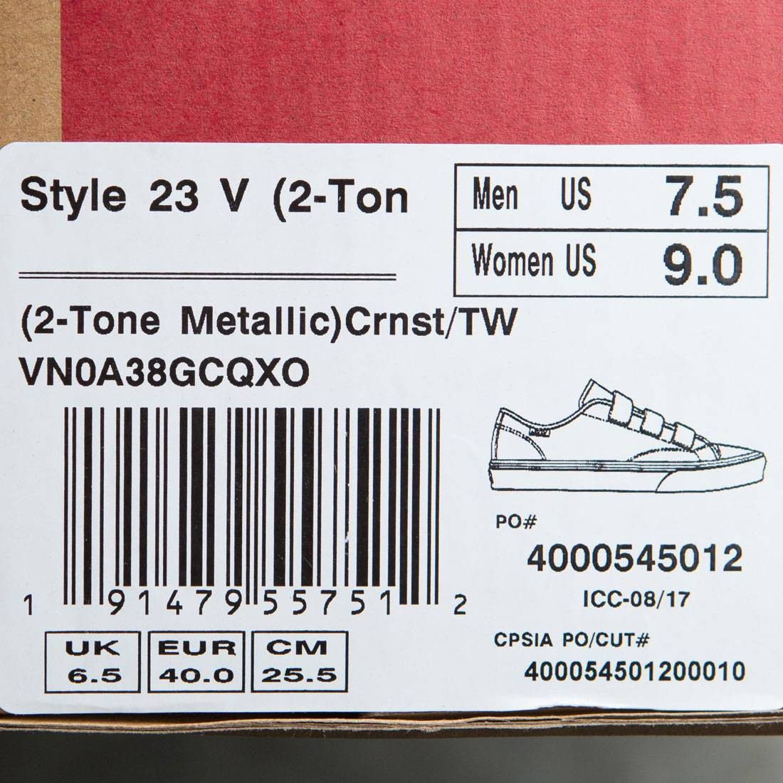 63b3ea90ef Vans Men Style 23 V - 2 Tone Metallic (yellow   cornstalk   white)