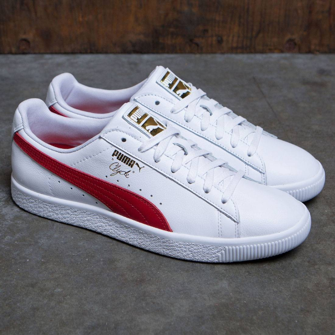 buy online 4b04a 735d4 Puma Men Clyde Core - Leather Foil (white / red)