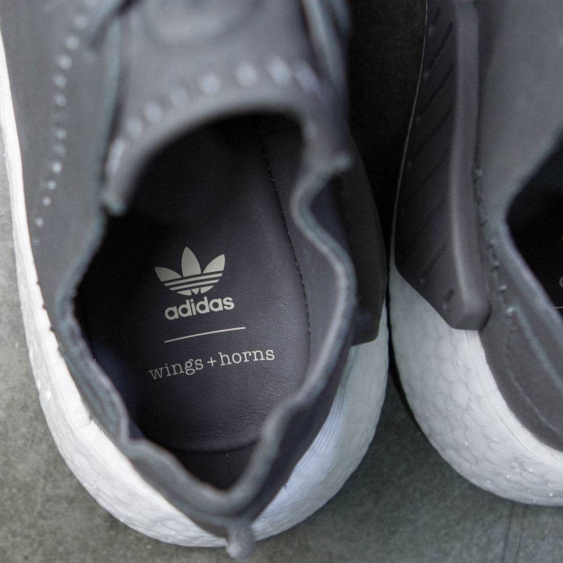 quality design 4f7c8 4df64 Adidas x Wings + Horns Men NMD R2 Leather (gray  ash  off white)