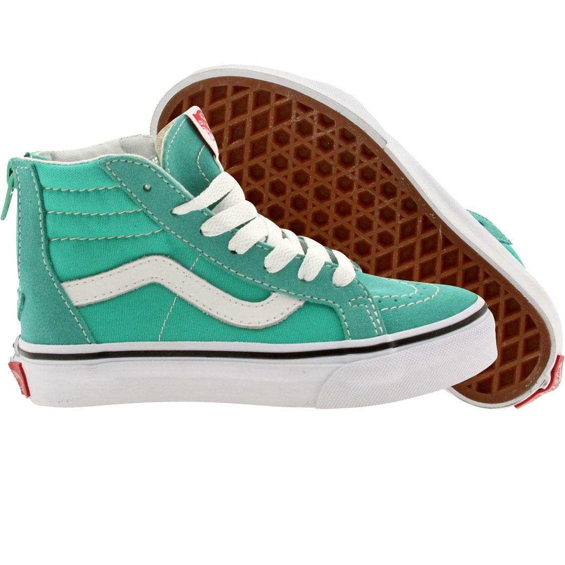 Vans Little Kids Sk8 Hi Zip (teal / aqua green / true white)