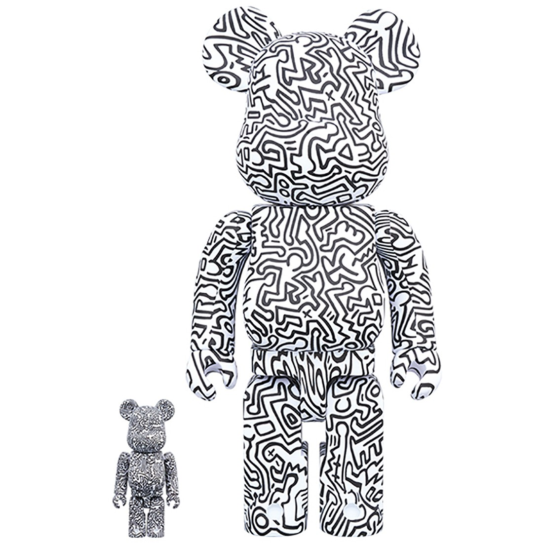 PREORDER - Medicom Keith Haring #4 100% 400% Bearbrick Figure Set (white)