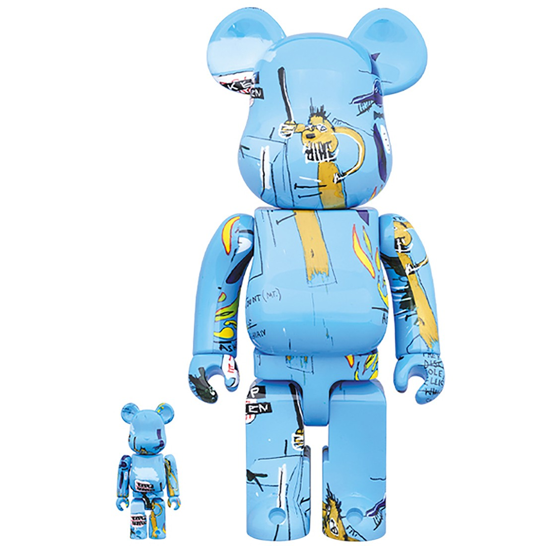 PREORDER - Medicom Jean-Michel Basquiat #4 100% 400% Bearbrick Figure Set (blue)