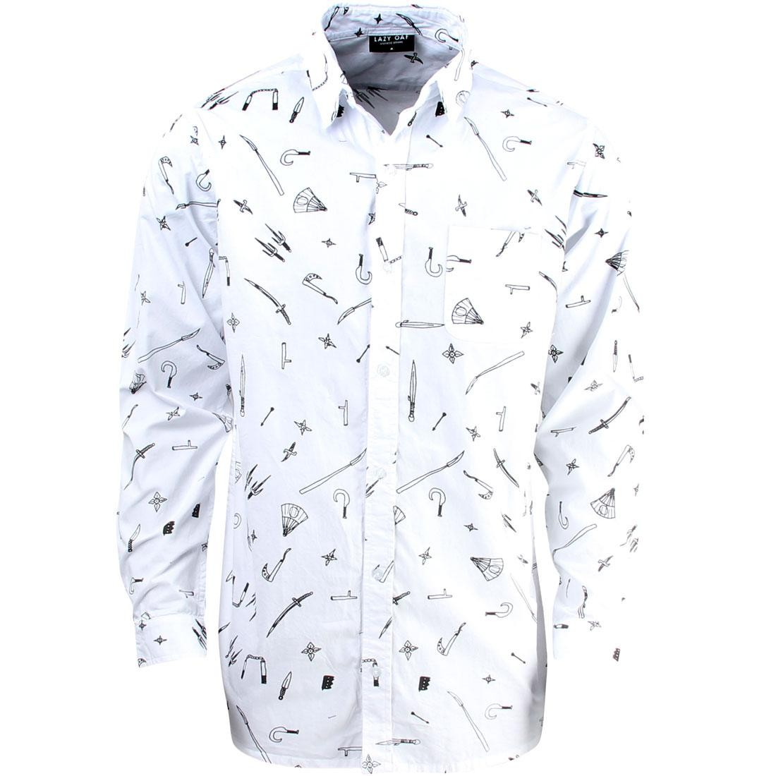 Lazy Oaf Men Ninja Weapons Long Sleeve Shirt (white)