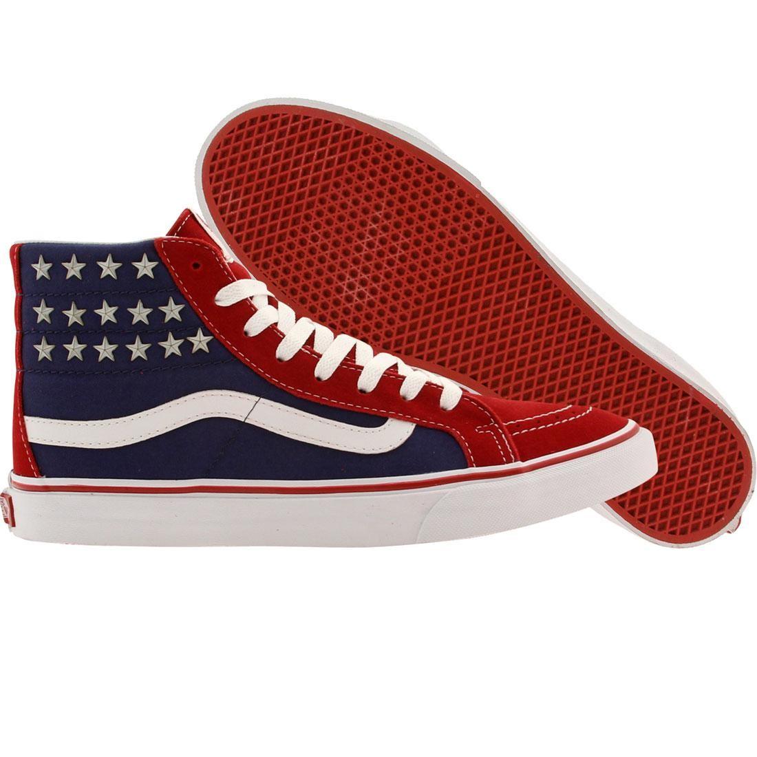 59a63422cf Vans Men Sk8-Hi Slim - Studded Stars red blue