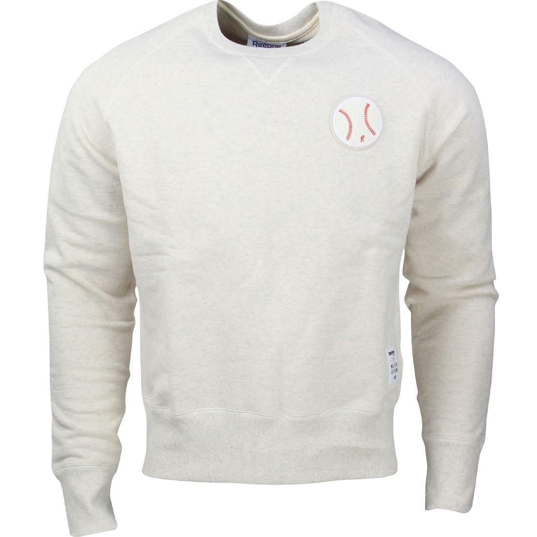 3a87b9e23980d Reebok x Kitsune Men Baseball Crew Neck Sweater (white)