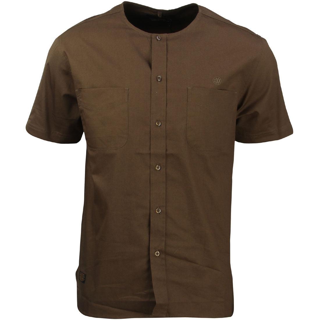 10 Deep Men Beachfront Collarless Short Sleeve Shirt (brown / army)
