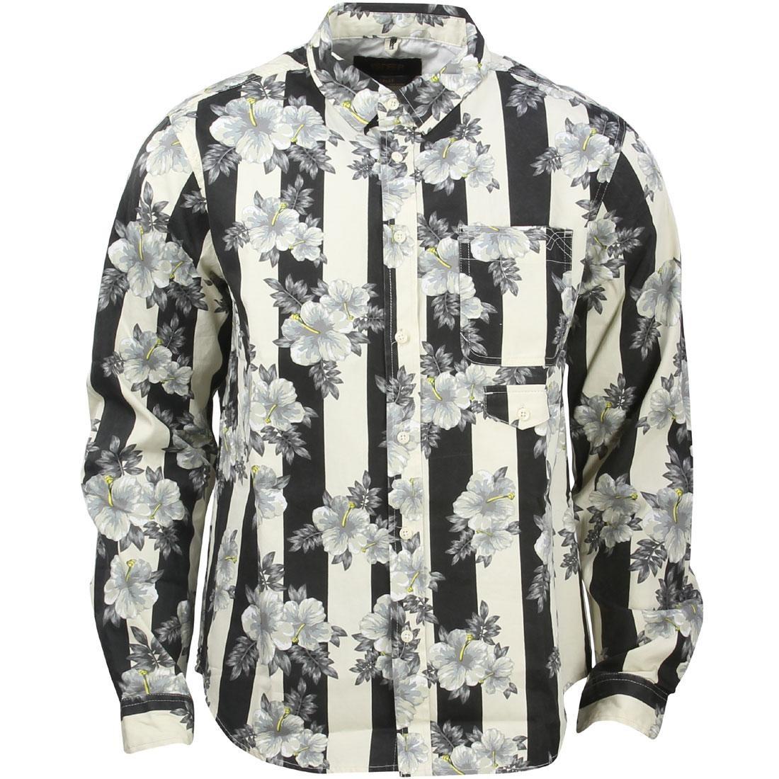 10 Deep 16 Bit Buttondown Long Sleeve Shirt (white / hibis strp)