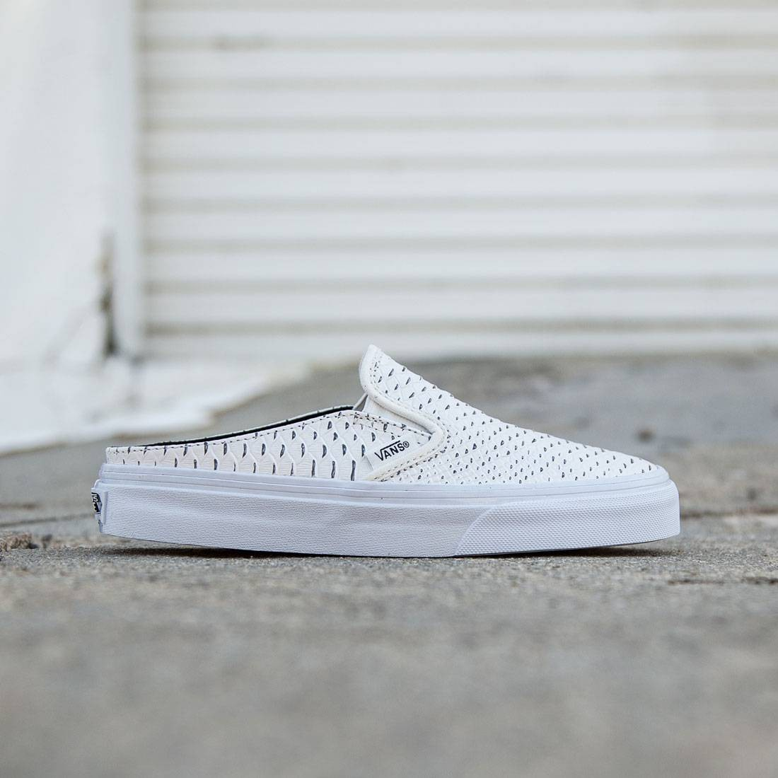 c9d819da60 Vans Women Classic Slip-On Mule - Embossed Leather white true white