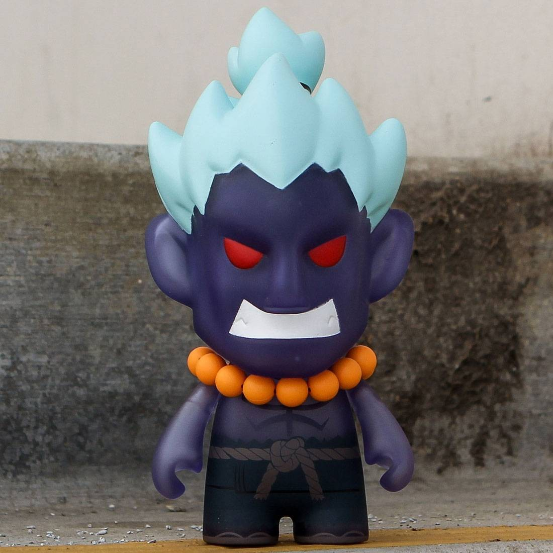 BAIT x Street Fighter x Kidrobot Oni Akuma 7 Inch Medium Figure - 2016 SDCC Exclusive (blue)