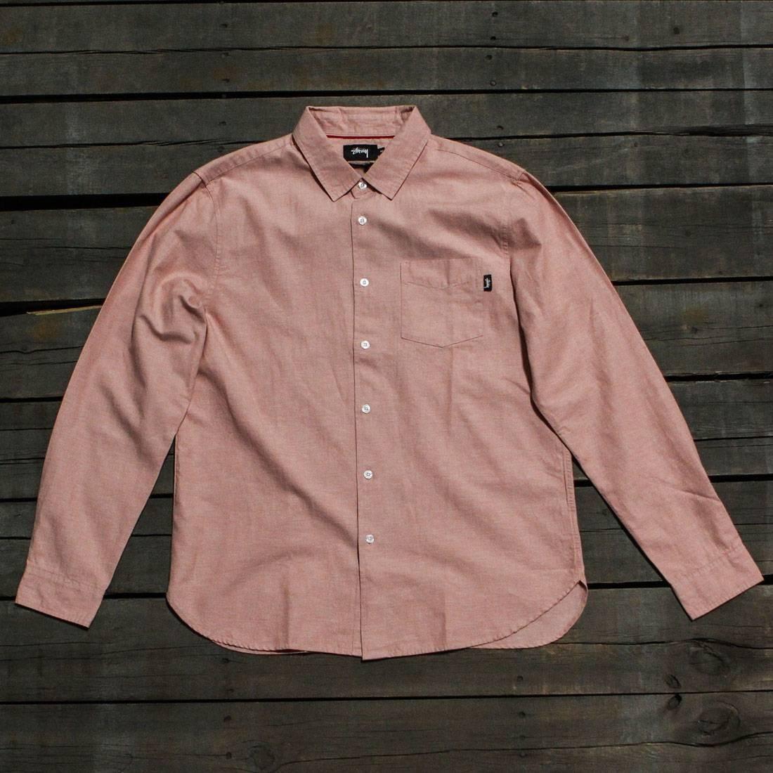 Stussy Men Classic Linen Long Sleeve Shirt (pink)