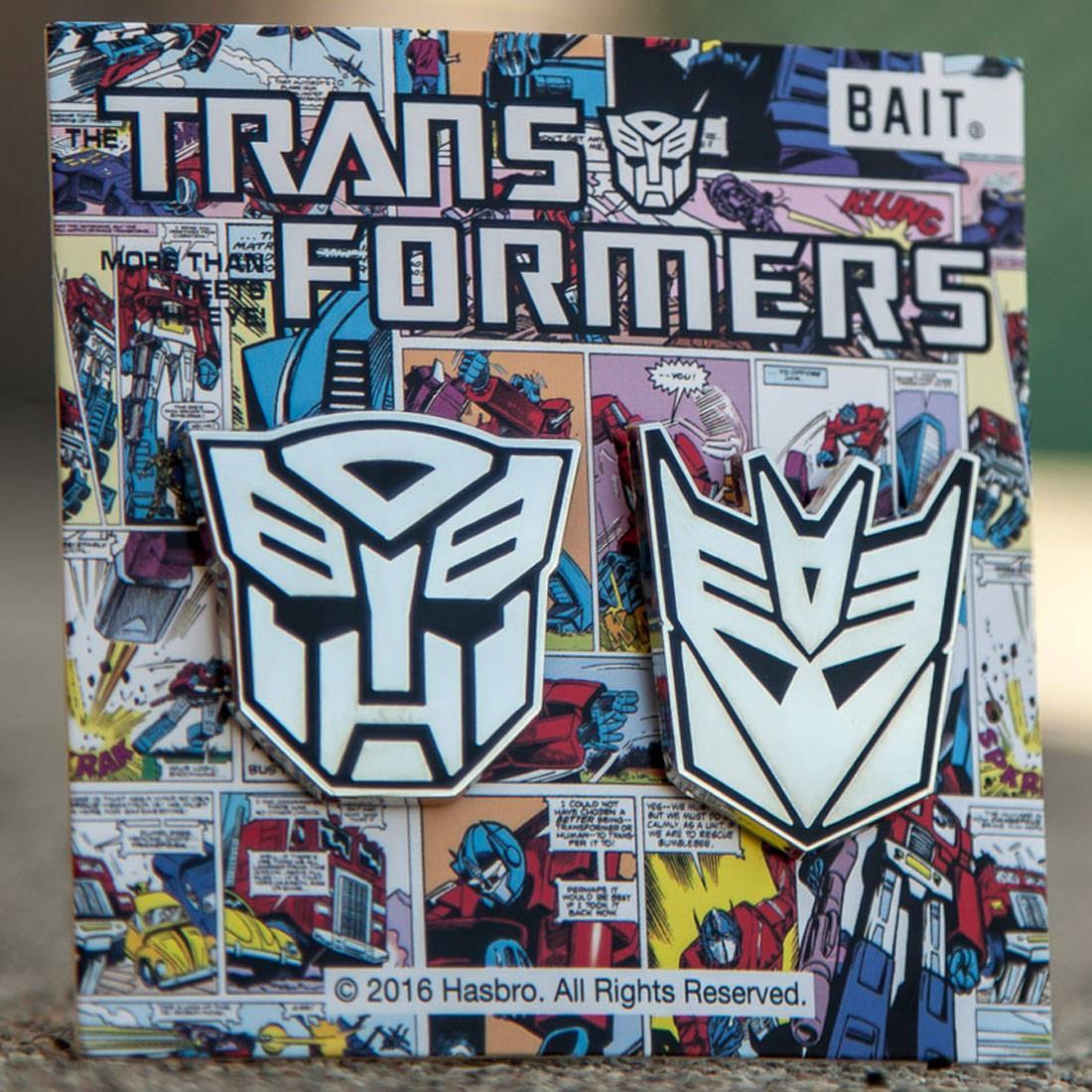 BAIT x Transformer Autobot Decepticon Logo 2 Pins (silver)