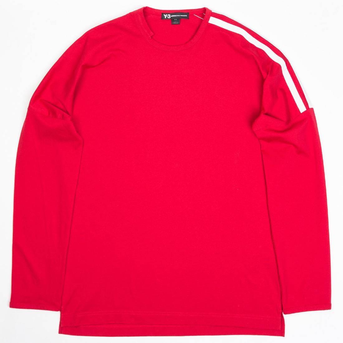 Adidas Y-3 Men 3-Stripes Long Sleeve Tee (chili pepper / core white)