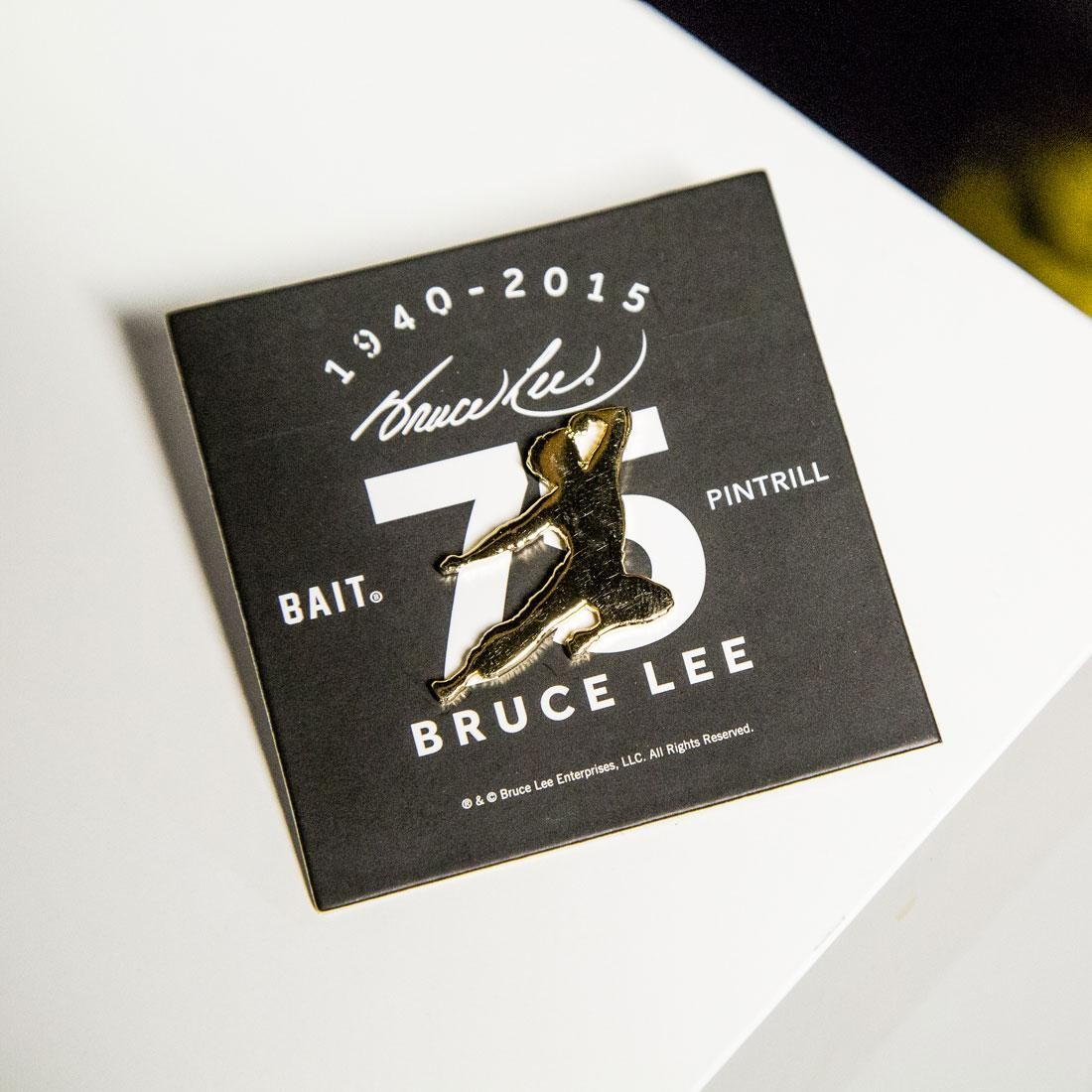reputable site 8d6f8 e02bf BAIT x Bruce Lee x Pintrill 75th Anniversary Fly Kick Pin (gold)