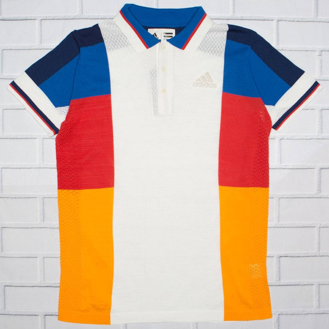 81eabcdb6 Adidas x Pharrell Williams Men NY Colorblock Polo Shirt white chalk white  clear brown blue