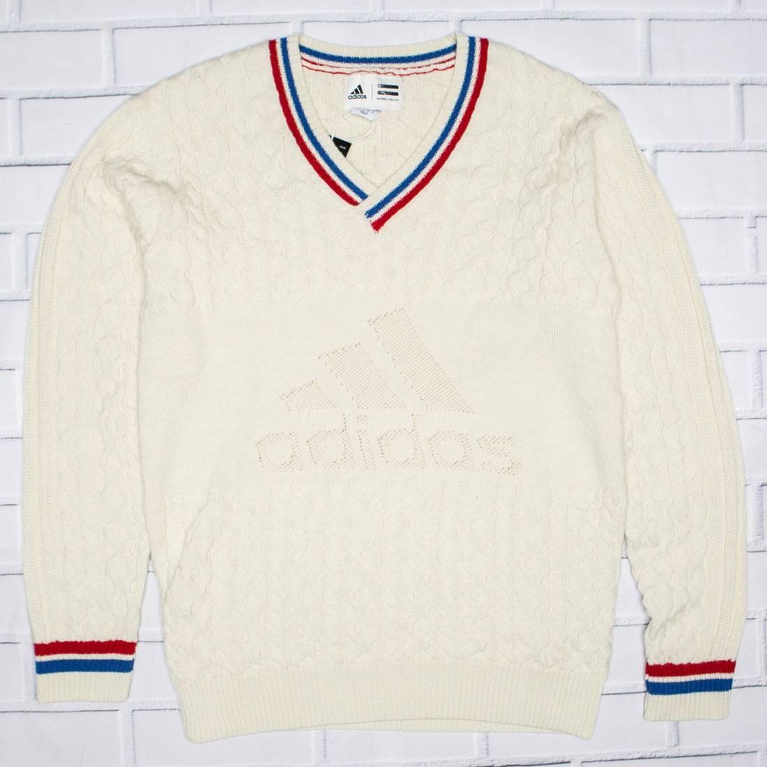 Adidas x Pharrell Williams Men NY Cable V-Neck Sweater (white / chalk white / blue / scarlet)