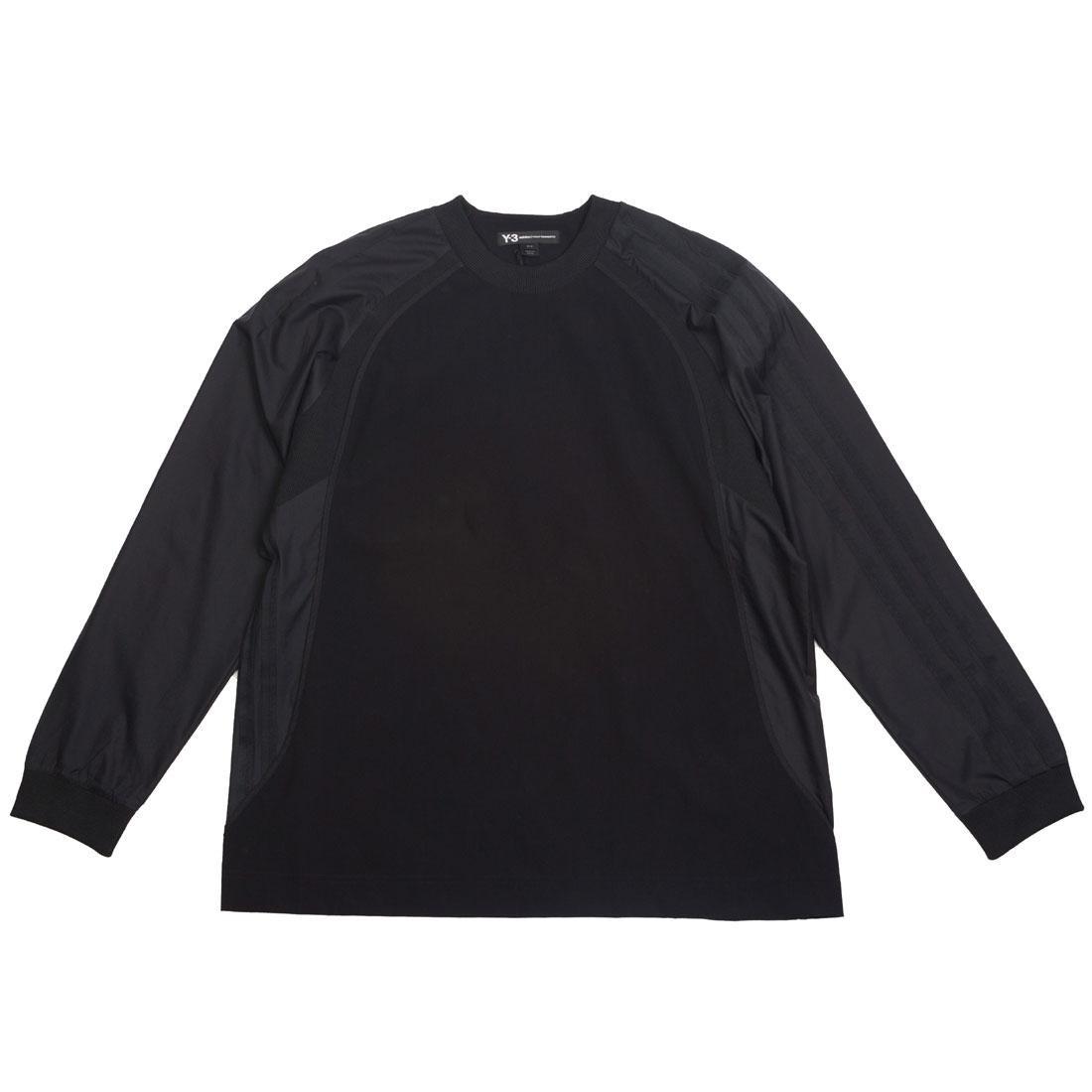 Adidas Y-3 Men 3 Stripes Light Nylon Mix Long Sleeve Tee (black)
