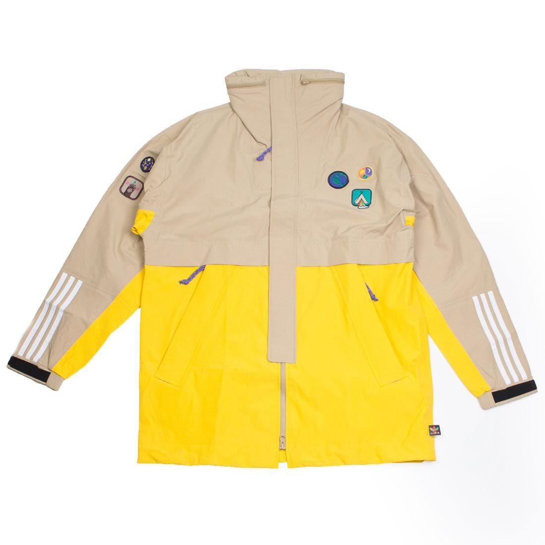 e8ea431322b22 Adidas x Pharrell Williams Men Hu Hiking 3-Layer Jacket beige hemp eqt  yellow