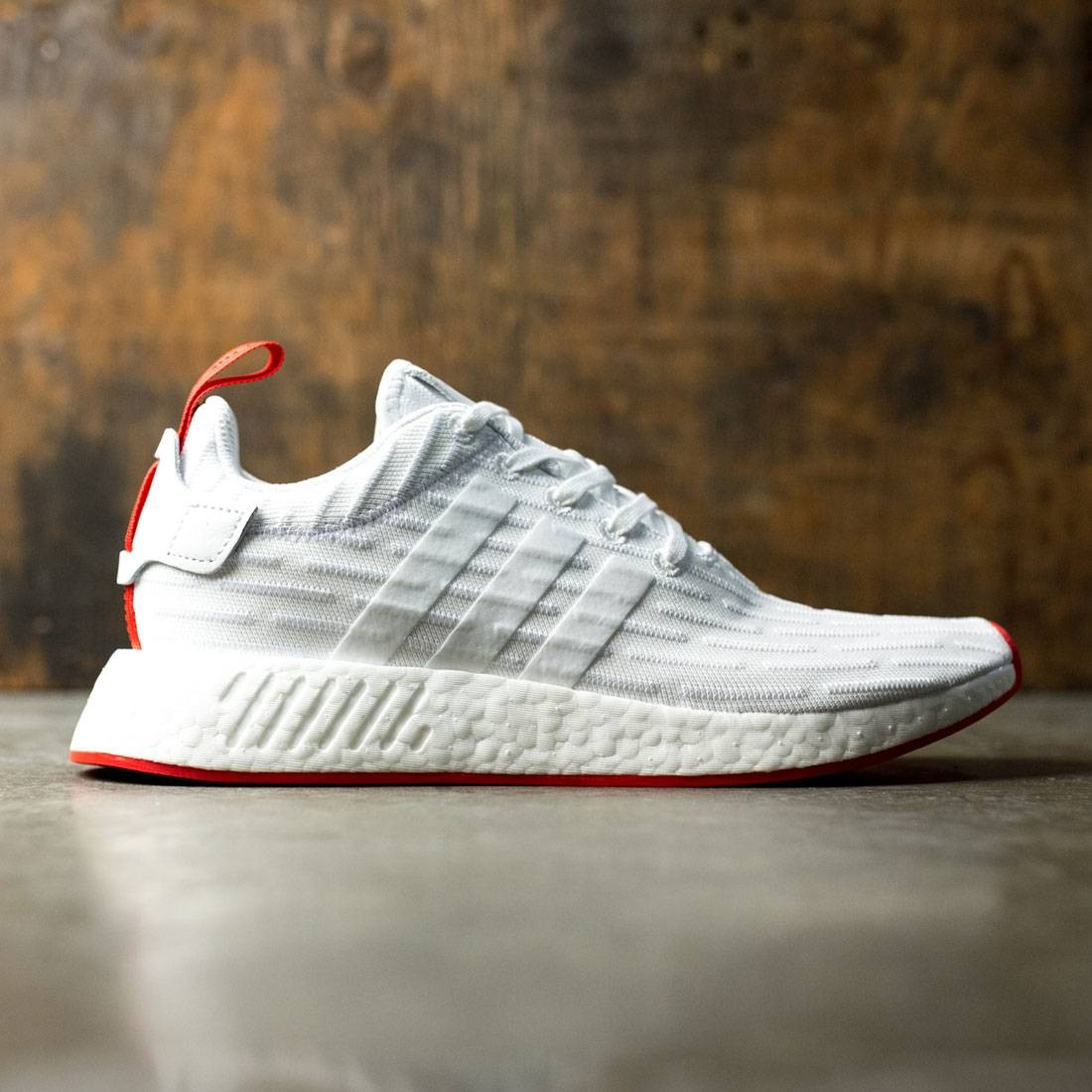 Adidas Men NMD R2 Primeknit white footwear white core red d85bffcd9d3f