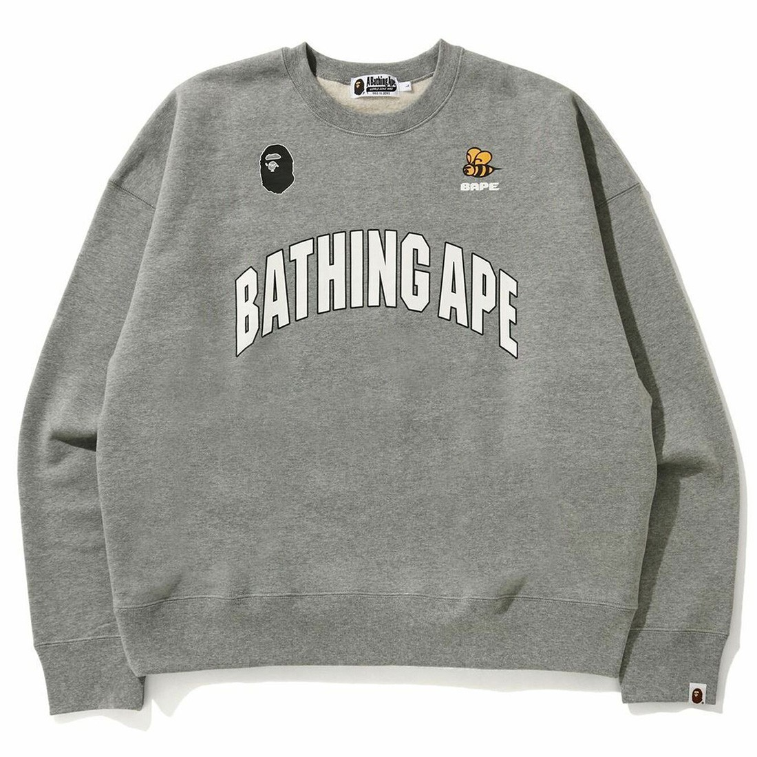 A Bathing Ape Men Busy Works Loose Fit College Crew Neck (gray)