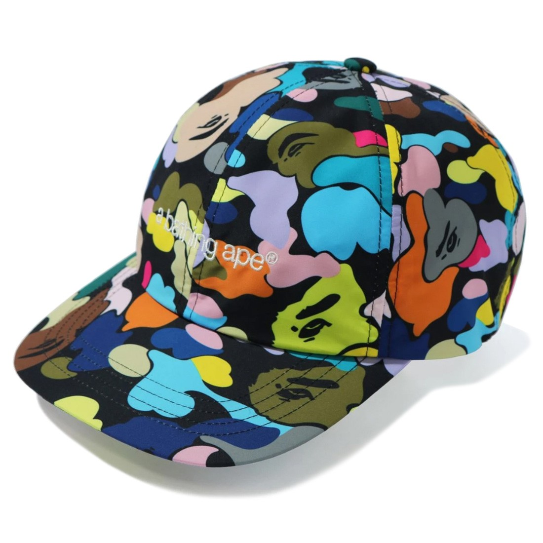 A Bathing Ape Multi Camo Embroidery Panel Cap (black)