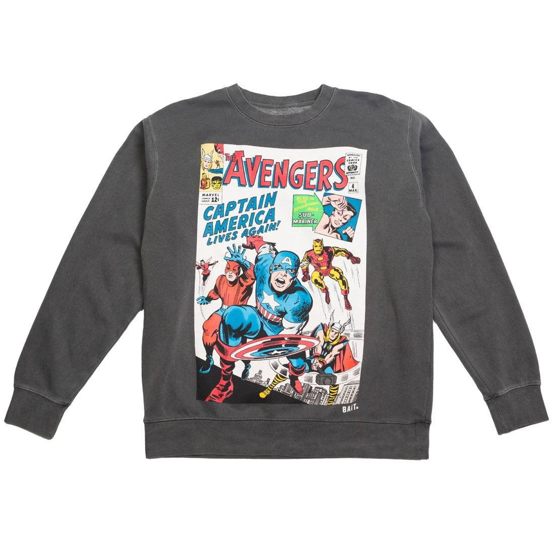 BAIT x Marvel Men Avengers Live Again Crewneck Sweater (black / pigment dyed)