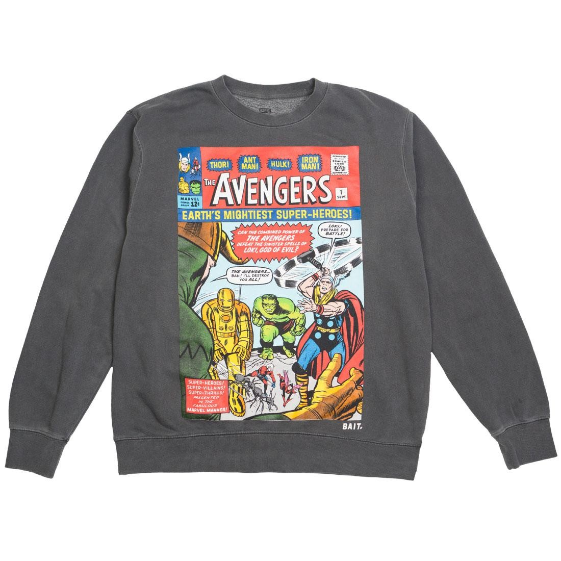 BAIT x Marvel Men Avengers - Earth's Mightiest Heroes Crewneck Sweater (black / pigment dyed)