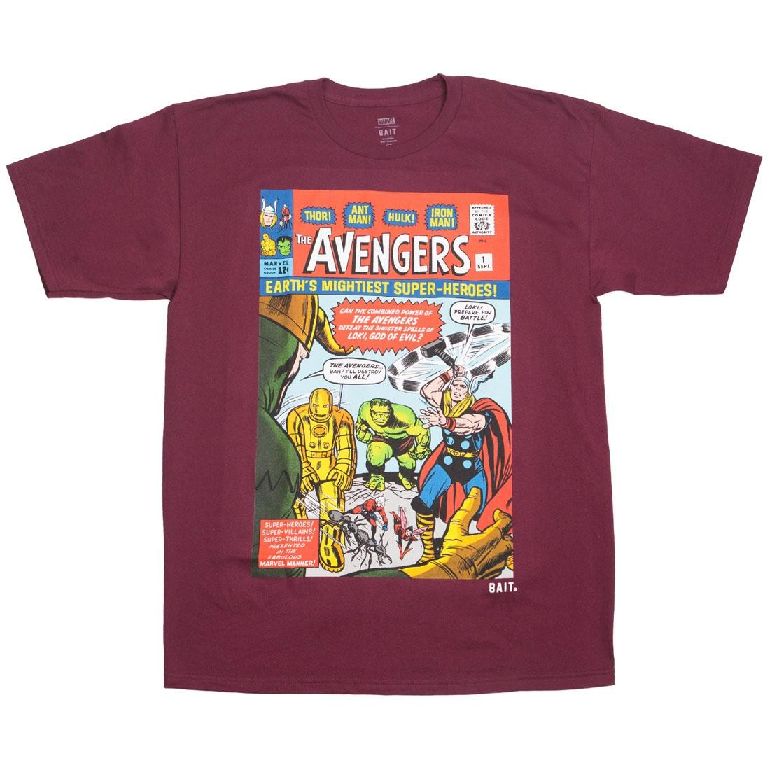 BAIT x Marvel Men Avengers - Earth's Mightiest Heroes Tee (burgundy)