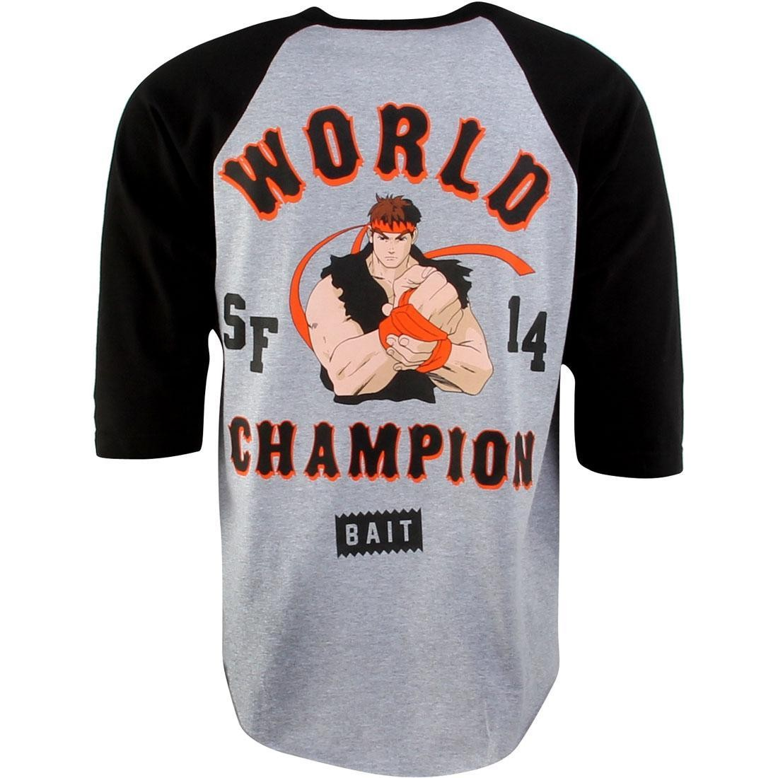 BAIT x Street Fighter Ryu Championship 2014 Raglan Tee (gray / athletic heather / black)