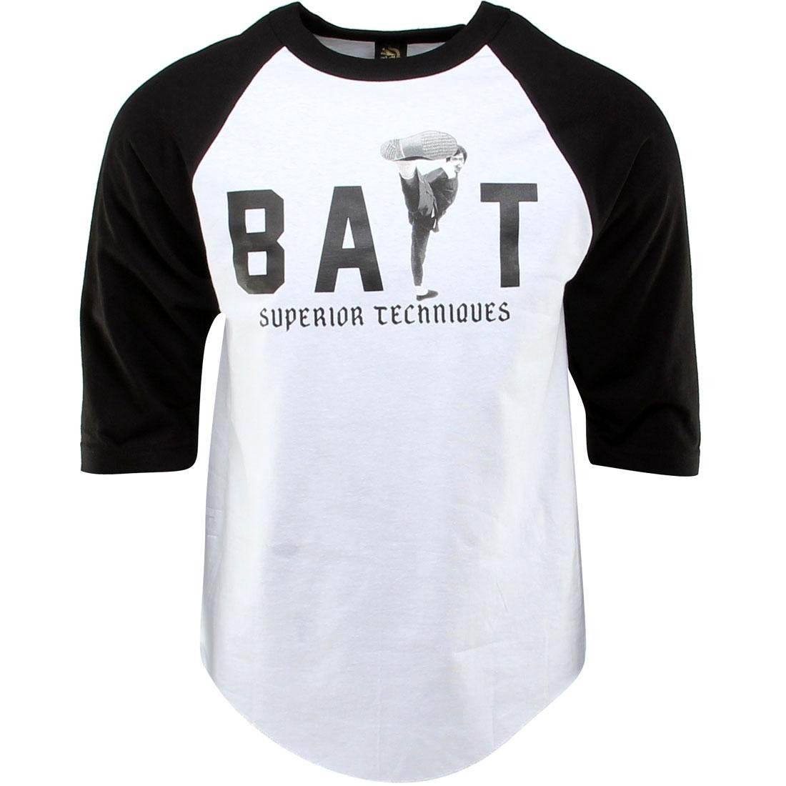 BAIT x Bruce Lee High Kick Raglan Tee (white / black / black) - BAIT SDCC Exclusive