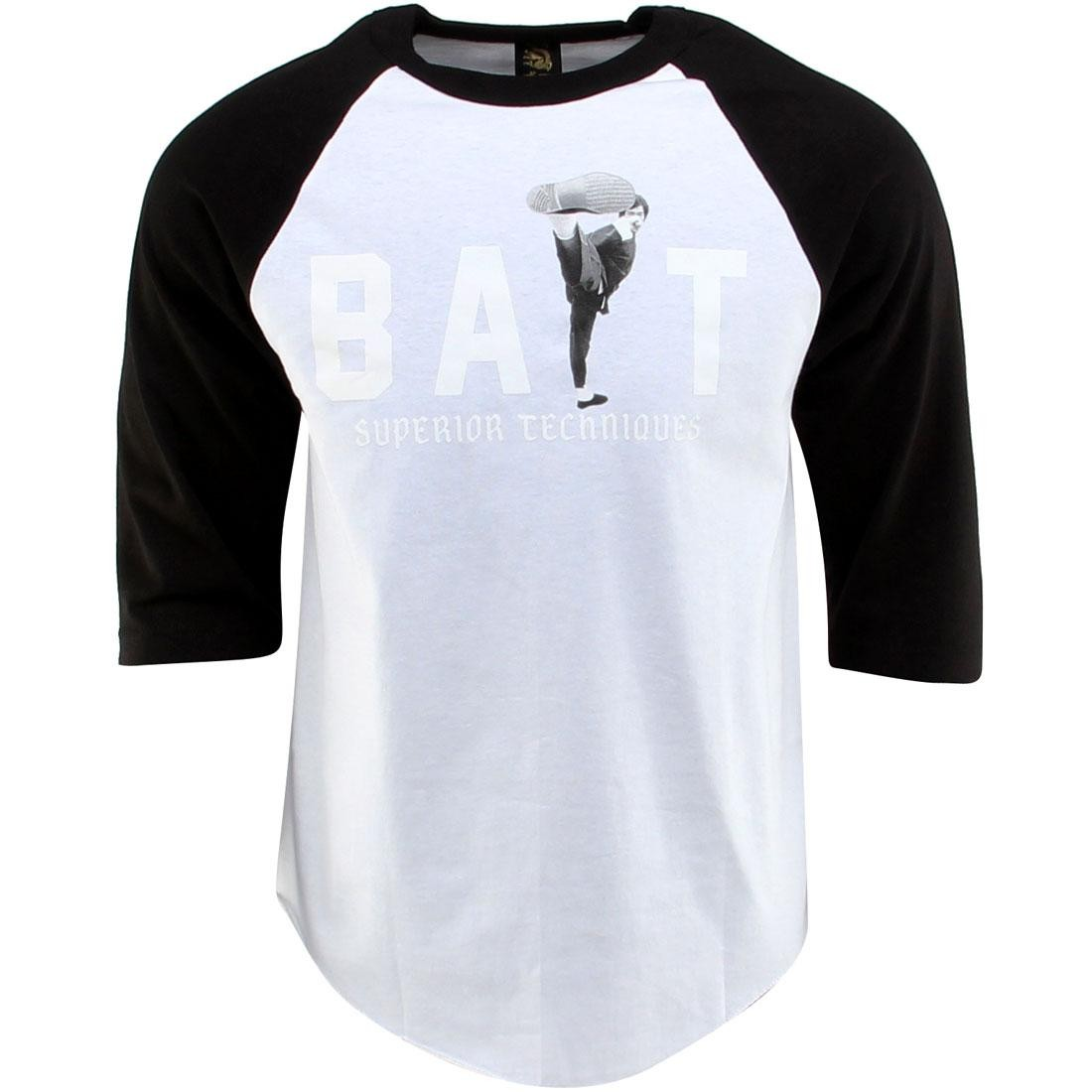 BAIT x Bruce Lee High Kick Raglan Tee (white / black / white)