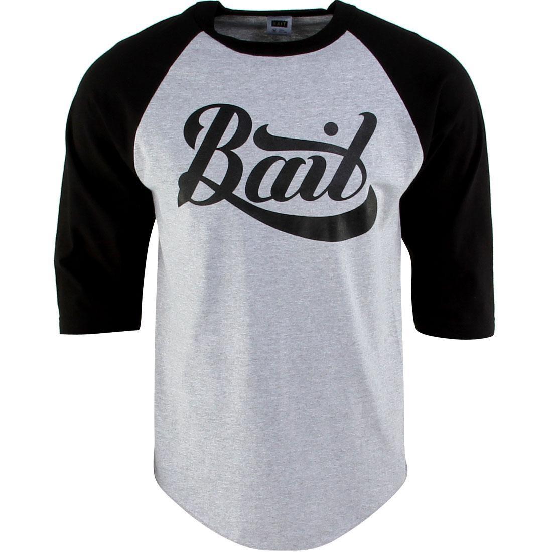 BAIT Script Logo Raglan Tee (gray / heather gray / black / black)