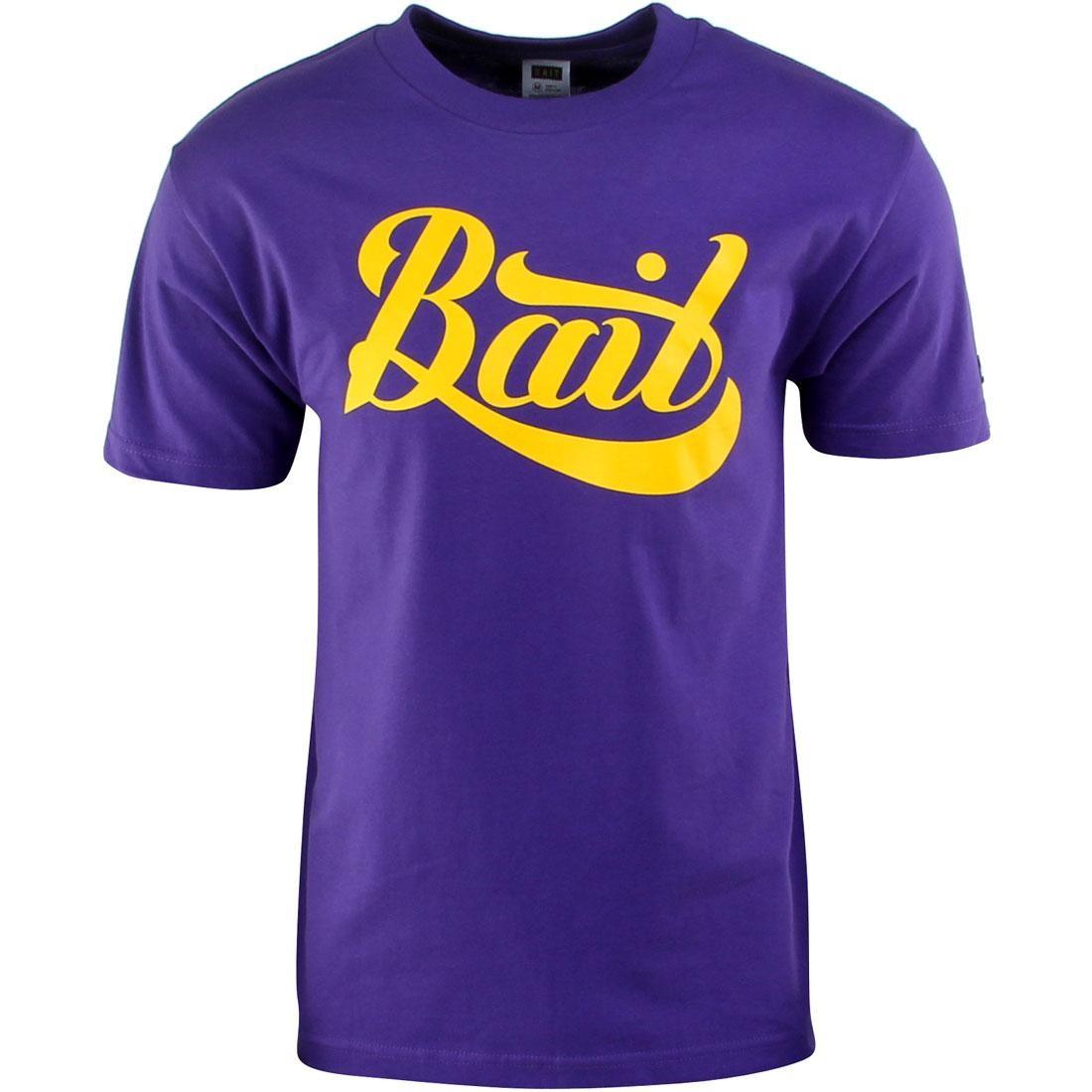 BAIT Script Logo Tee (purple / yellow)